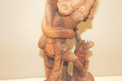 Antique Balinese Carved Wooden Statue of Garuda Fighting Naga Asian Hindu Art-BL 7