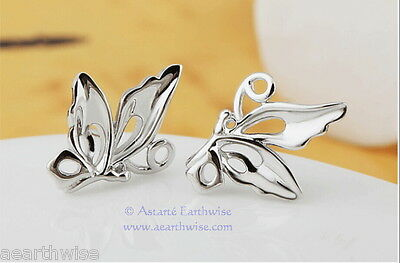 BUTTERFLY STUD EARRINGS 925 SILVER PLATED Wicca Witch Pagan Goth 4