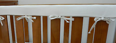1 x Baby Cot Rail Cover Crib Teething Pad - Classic White  100% Cotton *REDUCED*