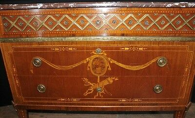 Antique French Empire Chest Drawers Commode Circa 1920 Marquetry Inlay 9