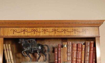 7 Ft English Regency Open Sheraton Bookcases Satinwood 8