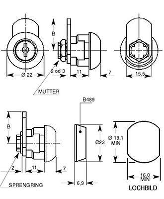Schrankschloß Möbelschloß Briefkastenschloß 6 mm Hebelschloß 2