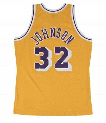release date: 9f753 a40ec MAGIC JOHNSON #32 Lakers Mitchell & Ness NBA Mesh Throwback Jersey Yellow