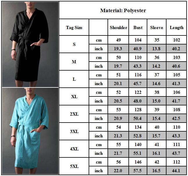 Mens Cotton Linen Pajamas Kimono Bathrobe Robe Dressing Summer Casual Loungewear 3