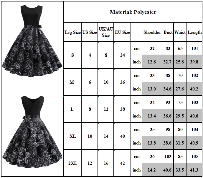 Womens 50s 60s Style Vintage Rockabilly Floral Pinup Swing Evening Party Dress 2