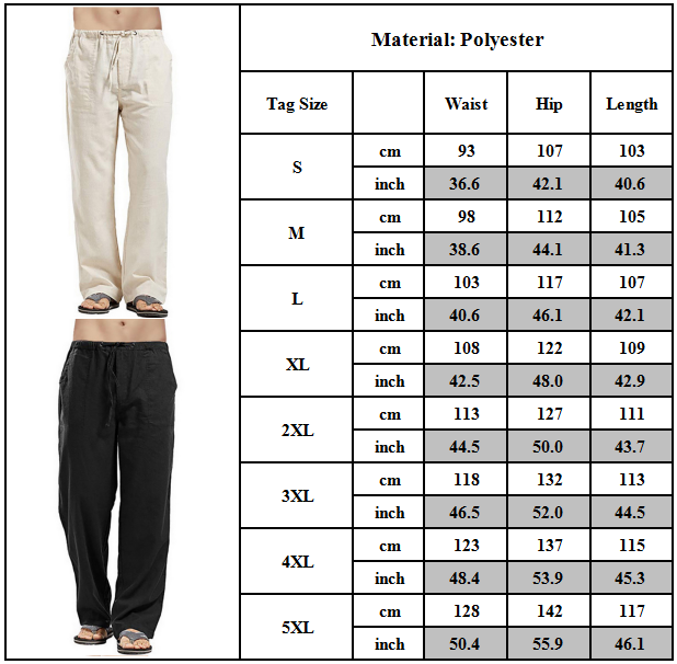 Mens Summer Casual Cotton Linen Pants Yoga Drawstring Loose Elasticated Trousers 3
