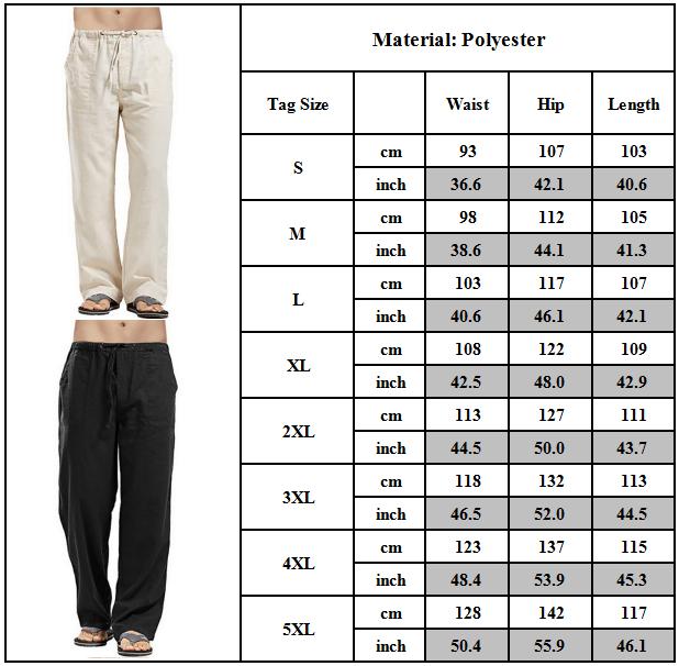 Mens Cotton Linen Loose Pants Summer Casual Beach Drawstring Trousers Slacks UK 11