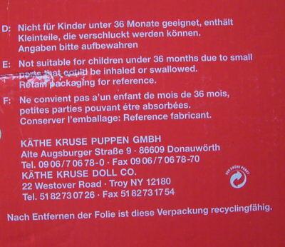 Käthe Kruse Puppe Franziska -  Orginalkarton - Sonderedition