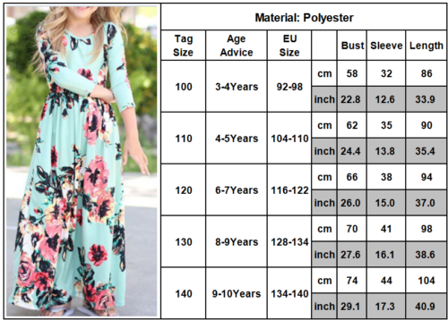 Family Clothes Mother Daughter Dresses Womens Girls Floral Long Maxi Dress 4