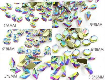 20 50 100pcs 3D Nail Art Rhinestones Flat Shaped Elongated Glass Colorful Stones 5