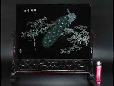 Chinese Old Screen Mother of Pearl 硯屏 /  KENBYO / W 34.2× H 30.3 [ cm ] 12