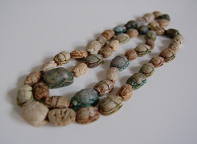 Long Antique EGYPTIAN SCARAB NECKLACE  (47 Scarabs) - Faience             (4B18) 3