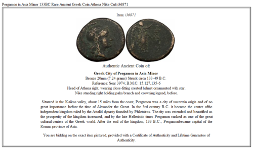 Pergamon in Asia Minor 133BC  Rare Ancient Greek Coin Athena Nike Cult   i36871 3