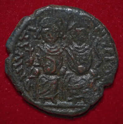 Ancient BYZANTINE EMPIRE Coin Of JUSTIN II Sophia And Justin II On Thrones 3