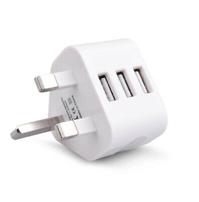 UK Mains Wall 3 Pin Plug Adaptor Charger Power 4 USB Ports for Phones Tablets CE 4