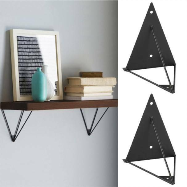 Pair of Durable Hairpin Industrial Wall Shelf Support Bracket Metal Prism Mount