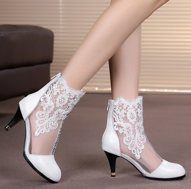 Womens Lace Floral Mesh Ankle Boots Kitten Mid heels Party Dress Pumps Shoes MG