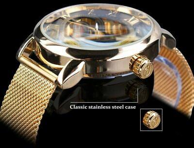 Men Skeleton Mechanical Wrist Watch Stainless Steel Luxury Steampunk Wristwatch 10