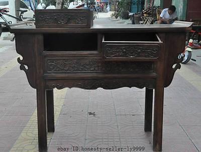 "44"" old chinese Antique Furniture Hand-carved huanghuali wood flower Tables Desk 5"