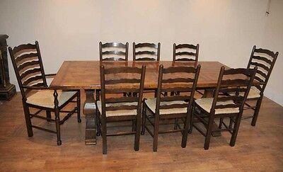 8 Solid Oak Pad Foot Ladderback Kitchen Chairs 8