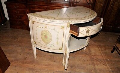 French Louis XV Painted Demi Lune Cabinet Commode Chest