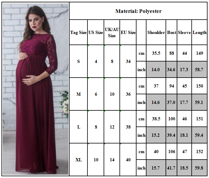 Maternity Women Lace Photography Long Pregnant Boho Maxi Gown Party Dress Props 6