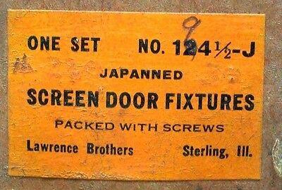 Nos Vintage Wooden Screen Door Hardware Kit Black Japanned W/mounting Screws Dm 5