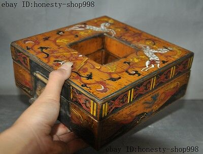Old China Bronze Lacquerware Carved Auspicious Sika deer Jewelry Case Box Boxes 2