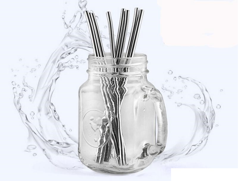 4 Straight Reusable Drinking Straws Metal Stainless Steel Eco-Friendly 10.5in 11