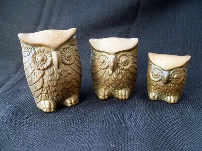 Vintage Aldon Brass Family of Four Owls