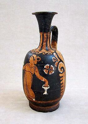 Magnificent ANCIENT APULIAN RED-FIGURED SQUAT LEKYTHOS, circa 350 B.C.