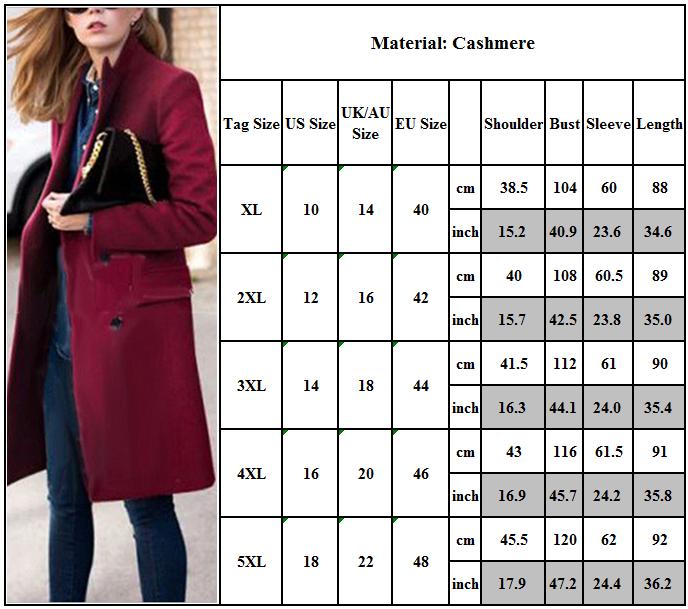 Womens Winter Office Pea Coat Trench Jacket Long Blazer Coats Outwear Plus Size 4