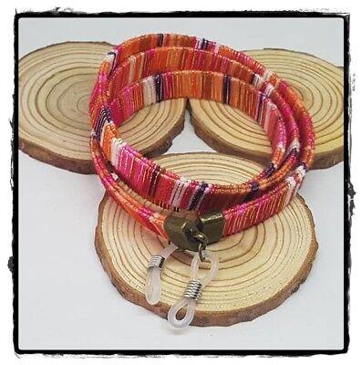 (R-2013) Cordón Cinta Colgante Para Gafas Plano Étnico 1 Cm Tope Silicona