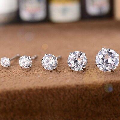 New 925 Silver Classic Swarovski Crystal Lab Diamond Cutting Stud Earrings Gift 3
