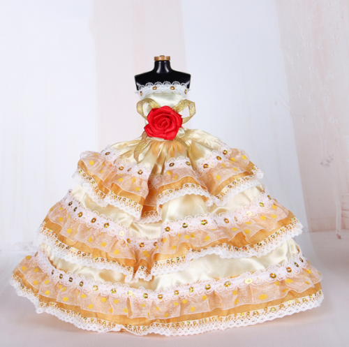 9PCS Wedding Party Dress Princess Clothes Handmade Outfit for 12in Barbie Doll 7