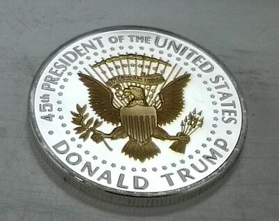 Donald Trump Silver & Gold Dollar City Coin President of the United States Man 2