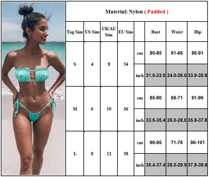 Women Strapless Bra Bikini Set Bandeau Frill Swimwear Swimsuit Thong Beachwear 3