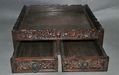 Conscientious Rare Old China Dynasty Boxwood Wood Hand Carved Dragon Statue Storage Box Boxes China Antiques