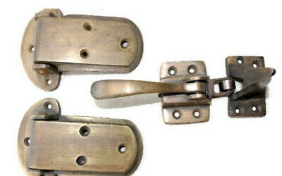 rare ICE BOX CATCH lever 2 hinges old style solid Brass leadlight heavy offsetB 4