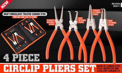 "4Pc 7"" Circlip  Pliers Set Internal External Bent Straight Snap Ring Remove Tool 2"