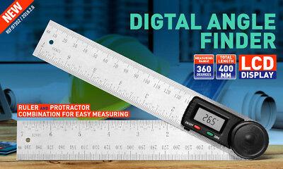 200mm Digital Angle Finder Ruler Protractor Measure Meter Stainless Steel 0-360° 2