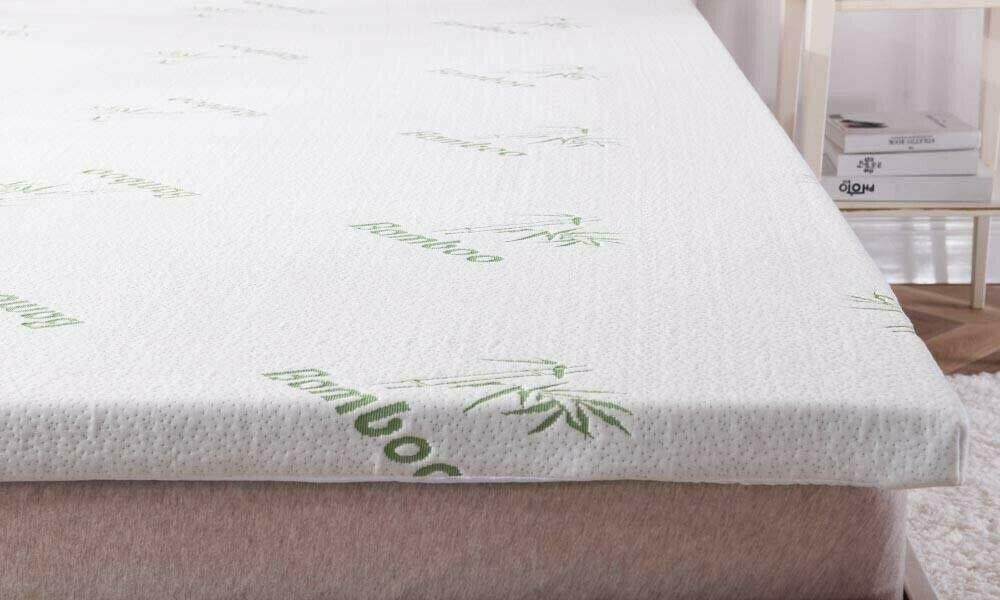 Ultra Soft Bamboo Memory Foam Mattress Topper Enhancer With Removable Zip Cover 5