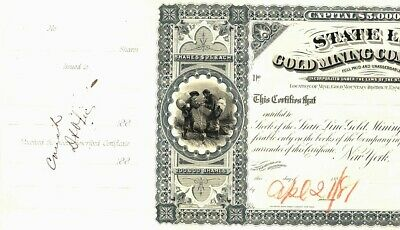 STATE LINE GOLD MINING CO.  Nevada - Proof Stock 1881 - No. 2 2
