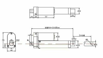 750-3000N Electric Linear Actuator Cylinder Lift Stroke 50-600mm DC12V 24V Black 9