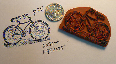 """Cat on bicycle rubber stamp vintage style WM 2x2.25/""""  P37"""