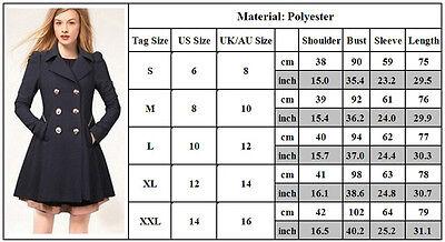 Womens Winter Office Pea Coat Trench Jacket Long Blazer Coats Outwear Plus Size 6