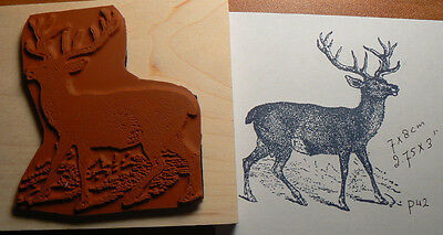 1 Of 2 P38 Buck Deer Rubber Stamp Wood Mounted Deep Etched 25x225