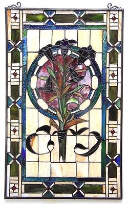 """LAST ONE THIS PRICE  Tulip Tiffany Style Stained Glass Window Panel  20"""" x 32"""" 2"""