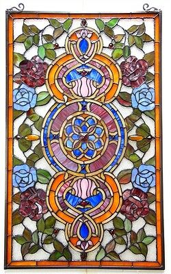 Medallion Tiffany Style Stained Glass Window Panel 20 x 32 ~LAST ONE THIS PRICE~ 2