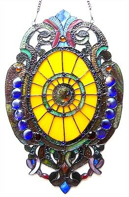 Tiffany Style Stained Glass Oval Window Panel Design 15 x 23 LAST ONE THIS PRICE 2